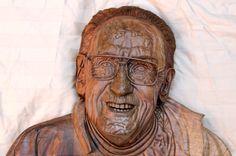 Les Paul, wooden sculpture Les Paul, Guitars, Buddha, Sculpture, Statue, Portrait, Art, Art Background, Headshot Photography