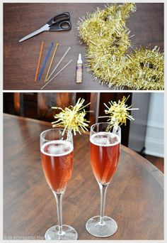 DIY Tinsel Swizzle Sticks and Pomegranate Champagne | diy drink stirrers