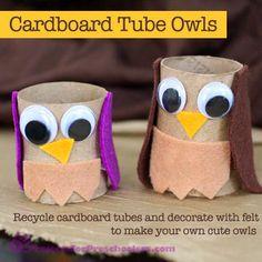 Cardboard Tube Owls