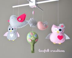 Baby Mobile  Owl and birds mobile  Pottery Barn by LoveFeltXoXo, $125.00