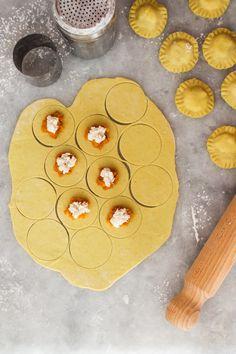 making vegan ravioli with pumpkin and ricotta