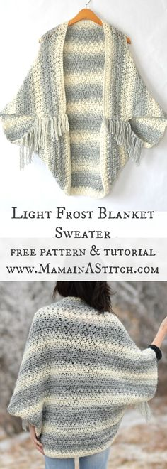 Light Frost Easy Blanket Sweater Crochet Pattern I love this cozy sweater! Free pattern for crochet light frost blanket sweater, with a photo tutorial to help you assemble and finish the sweater. This easy crochet sweater pattern is great for beginners. Crochet Gratis, Crochet Jacket, Blanket Crochet, Crochet Cocoon, Crochet Baby, Crochet Mens Scarf, Crochet Vests, Crochet Wool, Crochet Shawls And Wraps