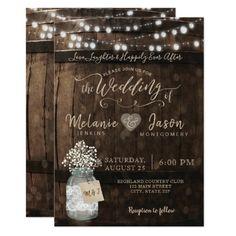 Country Rustic Wood Barrel Wedding Invitations