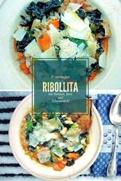 """Toskanische Bohnen und Brotsuppe """"Ribollita"""", einfaches, schnelles Rezept mit Schwarzkohl, Cannellini Bohnen, Brot und Parmesan."""