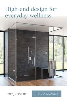 Build wellness into your shower by adding a MrSteam steam bath when you renovate. Contact your local steam shower expert for more details. Bathroom Design Luxury, Bath Design, Bathroom Interior, Dream Home Design, Modern House Design, Modern Shower, Modern Bathroom, Steam Bath, Master Bath Remodel