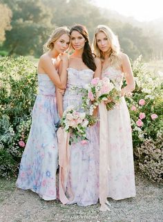 These pastel bridesmaid gowns from Plum Pretty Sugar featuring romantic floral prints are perfect for spring weddings! » Praise Wedding Community