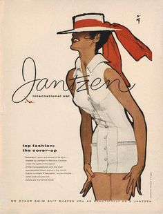 Vintage Advertising : Illustration by René Gruau, ca Jantzen ad. Vintage Advertising Campaign Illustration by René Gruau, ca Jantzen ad. Advertisement Description Illustration by René Gruau, ca Jantzen ad. Jacques Fath, Mode Vintage, Vintage Ads, Vintage Posters, Retro Ads, Marie Claire, Retro Fashion, Fashion Art, Vintage Fashion