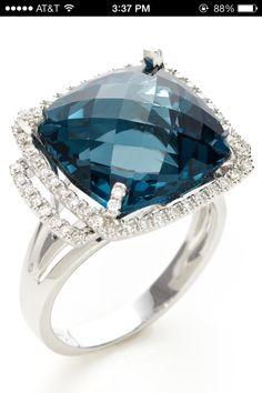 London Blue Topaz & Diamond Cushion-shaped ring by Danni