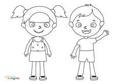 Kolorowanka dla dzieci – dziewczynka i chłopiec Good Things, Autism, Creative, Kids, Fictional Characters, Speech Language Therapy, Projects, Young Children, Boys