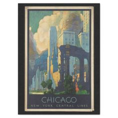 Vintage Travel Chicago to New York Central Lines Tissue Paper - vintage gifts retro ideas cyo