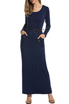 HOTOUCH Women Sexy Boho Maxi Dress Summer Long Sleeve Evening Party Beach Dress Navy Blue XLarge ** You can get additional details at the image link.