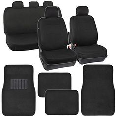 PolyCloth Car Seat Covers Black Classic Fit & Black Carpet Floor Mats for Auto