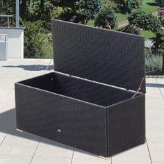 Outdoor Royal Teak 58 In. Resin Wicker 150 Gallon Storage Box   P80