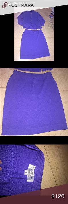 St. John collection skirt blazer set Flawless skirt blazer has small stains not sure if can be gotten off blue purple color St. John Collection Skirts Midi