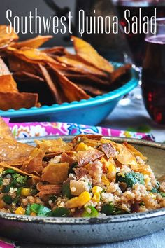 This fresh tasting, light Southwest Quinoa Salad is packed with fresh vegetables, black beans, corn, fresh lime, and cilantro. #vegetarian #recipe #salad #quinoa #southwest #easy #simple #fresh Vegetarian Salad Recipes, Vegetarian Lunch, Healthy Recipes, Healthy Comfort Food, Healthy Eats, Quick Dinner Recipes, Lunch Recipes, Pork Recipes, Real Food Recipes