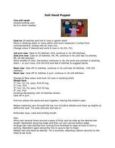 Dolly hand puppet pattern Beginner Knitting Patterns, Knitting For Beginners, Knitting Stitches, Knitting Socks, Christmas Child Shoebox Ideas, Operation Christmas Child Shoebox, Knitting For Charity, Double Knitting, Puppet Patterns