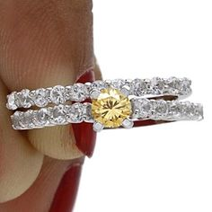 2.5 Ct Round Cut Golden Genuine Moissanite & D/VVS1 10K Solid Gold Solitaire Engagement Wedding Bridal Ring Set by JewelryHub on Opensky