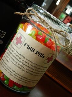 Novelty 24 oz Bottle of Chill Pills  Gag Gift for Coworker or friend dealing with stress. $5.00, via Etsy. by Michele Austin