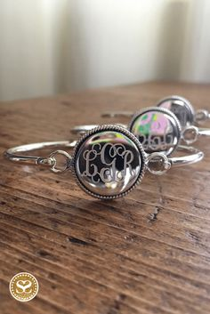 Sterling silver monogrammed bracelets with gorgeous deep engraving by our local craftsmen.