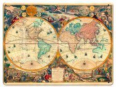 Винтажная табличка Старинная карта 30 см на 40 см