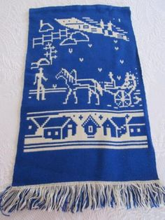 UNUSUAL-Vtg-Scandinavian-Double-Sided-Reversible-WOOL-Wall-Hanging-FARM-Horses