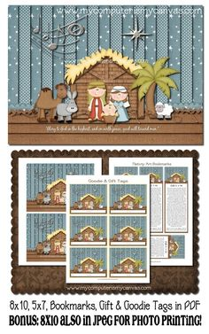 Christmas Nativity Art with Bookmarks, Art and Treat Tags - Printable INSTANT DOWNLOAD via Etsy