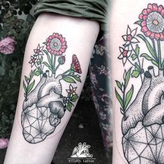 anatomical heart tattoo with flowers - Pesquisa Google