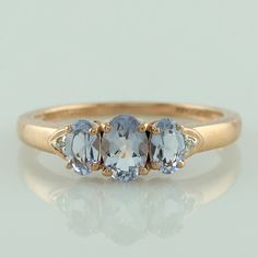 Blue Morganite Fabulous Ring 10K Rose Gold Occasion Top Diamond Genuine Jewelry #SGL #ExclusiveCollection