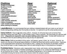 A real packing list for camp counselors, sent from my camp's director! (Lake Greeley Camp)