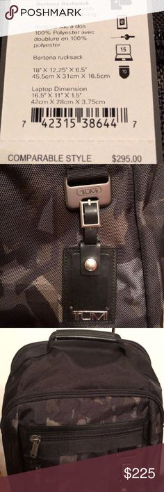 4206071b2e29 Tumi Bertona Black Camouflage Laptop Backpack- NWT Brand new with tags.  Retails for  295
