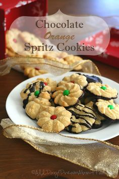 Almond flour spritz cookies with orange zest and dipped in dark chocolate. Sugar-free and grain-free but no one will be able to tell!