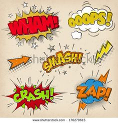 Collection of seven multicolored comic sound Effects with a grunge Print Style