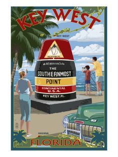 """Vintage poster promoting travel to Key West, Florida - """"the southernmost point of continental USA"""" Vintage Florida, Old Florida, Florida Travel, Florida Usa, Florida Honeymoon, Florida Tourism, Clearwater Florida, Sarasota Florida, Florida Vacation"""