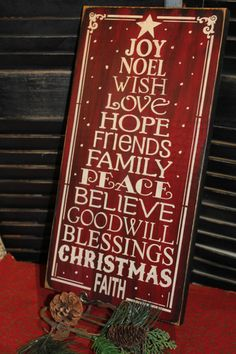 Christmas Subway Style Sign/Christmas Tree/Typography/Red/Handpainted Wood Sign