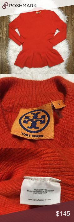 "Tory Burch Madeline Burnt Orange Peplum Sweater S Gently used. Please see last picture for small hole on the back of Sweater. Very small and very unnoticeable! Comes from pet free and smoke free home   Armpit to armpit flat: 16.5"" Length: 23"" Tory Burch Sweaters Crew & Scoop Necks"