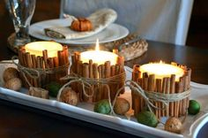 diy cinnamon stick candle - anytime for a great aroma in the kitchen! Fall Crafts, Holiday Crafts, Holiday Fun, Christmas Crafts, Simple Christmas, Christmas Stuff, Decor Crafts, Country Christmas, Winter Christmas