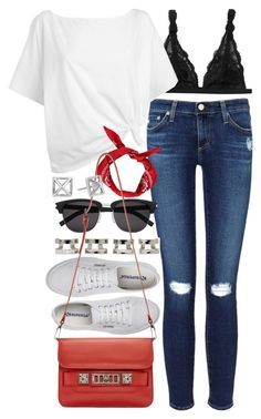 """""""Outfit with a pop colour bag"""" by ferned ❤ liked on Polyvore featuring AG Adriano Goldschmied, Monki, Red Herring, Superga, Maison Margiela, Yves Saint Laurent, Boohoo, Proenza Schouler and Rebecca Minkoff"""