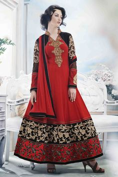 Head-Turning Red Anarkali Dress Material- 30% #Discount #Eid #EidSpecial #Anarkali #DressMaterial