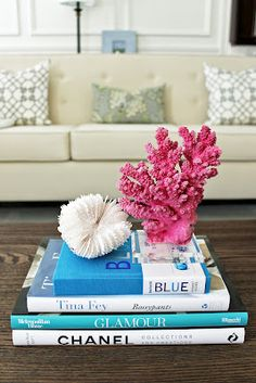 Pink Coral Sculpture on Crystal Base3, Rock Collection, Coffee Table Books