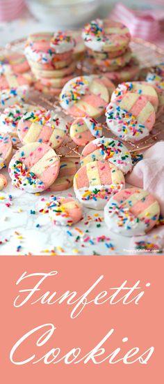 How to make Easy Funfetti Cookies From Scratch. Made using striped sugar cookies | Funfetti recipes, Homemade cookies, sugar cookie recipes, Easy baking Birthday Cookies #funfetti #cookies #sugarcookies #desserts #baking #howtorecipes