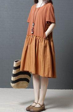 Women loose fit pocket dress skater skirt tunic summer short sleeve large size #Unbranded #dress #Casual