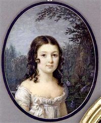 A girl standing before a tree with lilac, in white silk dress with white sash tied in a bow, long dark curling hair, forest and sky background by Marie Gabrielle Capet