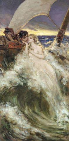 Vasily Alexandrovich Kotarbinsky, (Russian,1849-1921), CARESS OF THE WAVE http://www.pinterest.com/merciduran/boards/