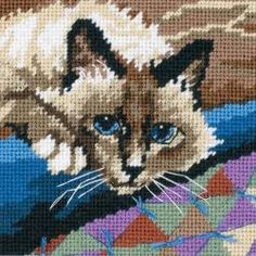 """Cuddly Cat Mini Needlepoint Kit-5""""X5"""" Stitched In Floss by Dimensions"""