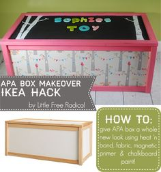 APA Box IKEA Hack - fabric sides and lid with a magnetic chalkboard! - Easy to make toybox!