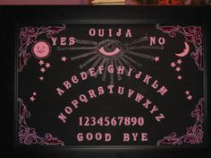 Victorian style  OUIJA BOARD hand painted acrylic on wood pink gilding.