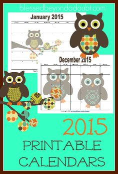 Totally FREE monthly printable calendars with an adorable owl theme for 2015!