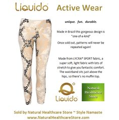 Liquido Activewear. Namaste Patterned Hot Pants. unique. fun. durable. one-of-a-kind. limited edition prints. http://www.naturalhealthcarestore.com/