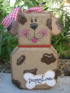 Good Dog Patio Person Garden Art Outdoor by SunburstOutdoorDecor Painted Bricks Crafts, Brick Crafts, Painted Pavers, Stone Crafts, Painted Rocks, Clay Pot Crafts, Dog Crafts, Garden Crafts, Garden Art