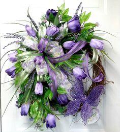 Purple tulip wreath,indoor wreath,purple wreath,indoor wreath,tulip wreath,butterfly wreath,Mother's Day wreath,purple flower wreath by OverAndBeyondDesigns on Etsy